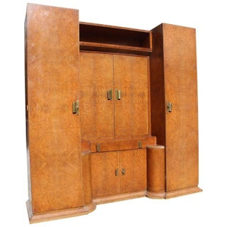 French Art Deco Burl Amboyna Vanity Armoire