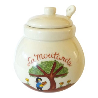 French Scene Mustard Pot w/Spoon
