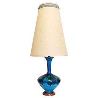 Mid-Century Blue Drip Glaze Lamp