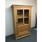 Image of Antique Rustic Wood Armoire With Glass Doors