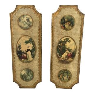 Vintage Florentine Wall Plaques - A Pair