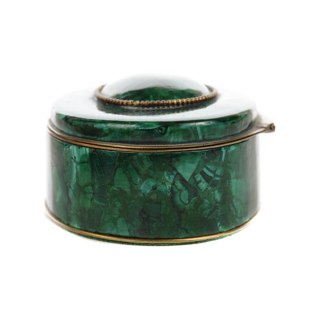 Russian Malachite Oval Compact Jewelry Box - Image 7 of 8