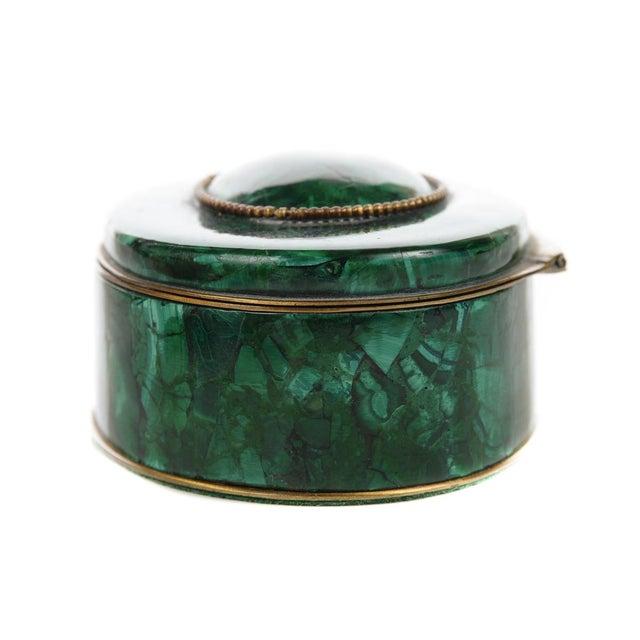 Image of Russian Malachite Oval Compact Jewelry Box
