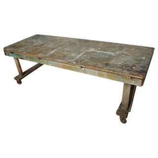 Vintage Paint-Splattered Wooden Worktable