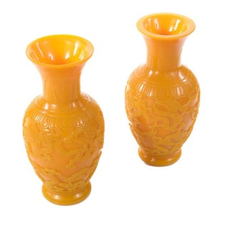 Chinese Carved Yellow Peking Glass Vases - Pair