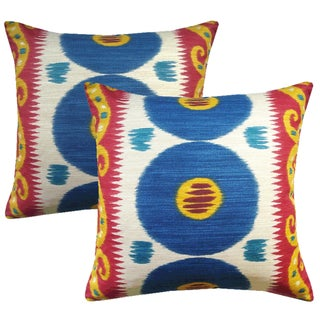Lee Jofa Emir Cadet Ikat Accent Pillows - a Pair