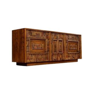 Mid Century Modern Brutalist Pueblo Sculpted Walnut Triple 9 Drawer Dresser/Credenza/Sideboard
