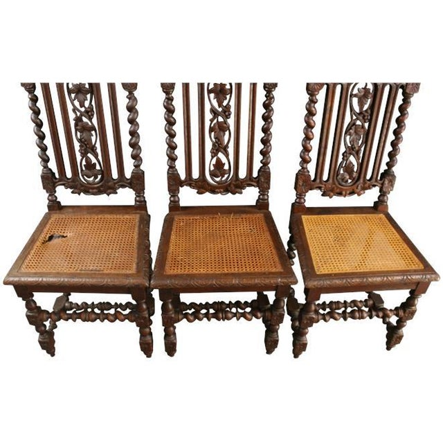 1880 Hunting Renaissance Dining Chairs - Set of 6 - Image 6 of 9