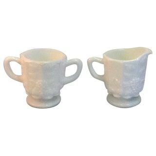 Vintage Milk Glass Creamer & Sugar Set