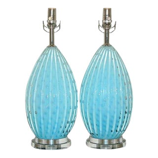Blue Barbini Murano Lamps w/Bubbles