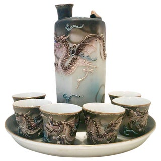 Vintage Japanese Porcelain Moriage Dragonware - Set of 8