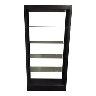 Room and Board Black Steel and Glass Bookshelf