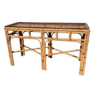 Italian Rattan & Patchwork Burl Sofa Table