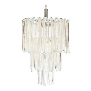 Tiered Crystal and Opaline Murano Glass Chandelier