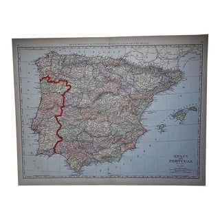 "Antique Map of Spain & Portugal-27.5""x21.25"""
