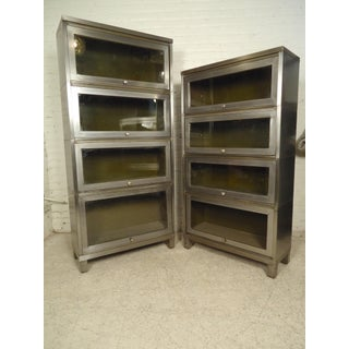 Pair of Industrial Finish Barrister Bookcases
