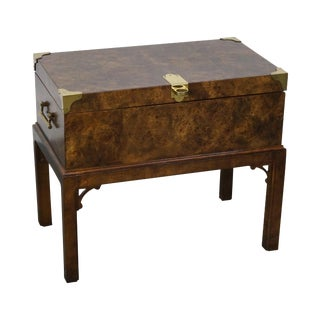 Burl Wood Lift Lid Chest on Stand