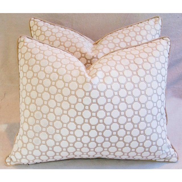 White Velvet Geometric Pillows- A Pair - Image 2 of 7