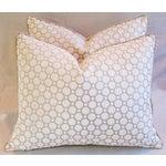Image of White Velvet Geometric Pillows- A Pair