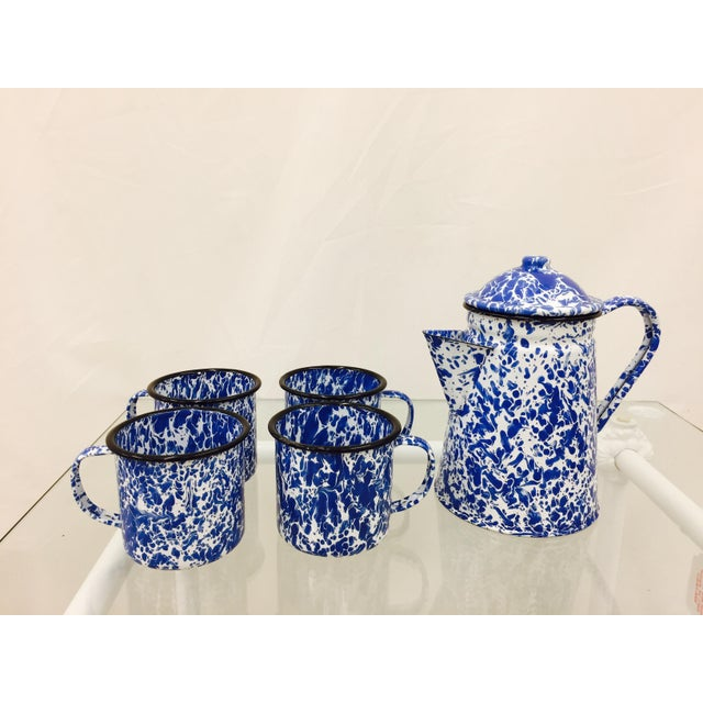 Blue & White Paint Splattered Enamel 5-Piece Tea Set - Image 2 of 11