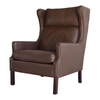 Børge Mogensen-style Danish Leather Wingback Lounge Chair