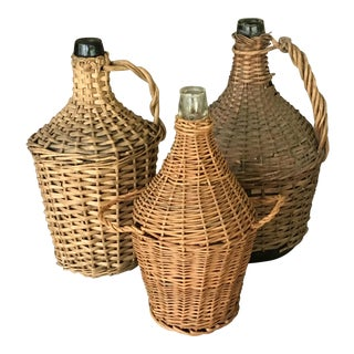 Wrapped Wicker Wine Bottles - Set of 3