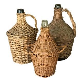 Wrapped Wicker Wine Bottles - Set of 3