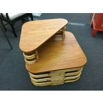 Image of Paul Frankl Rattan Double Stacked End Table