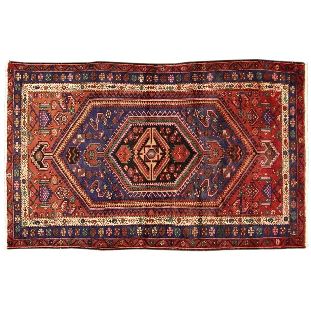 """Vintage Red & Blue Persian Rug - 4'11"""" x 7'10"""" - Image 1 of 4"""