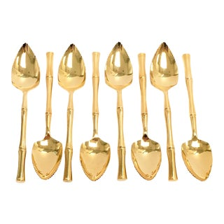 Gold faux bamboo grapefruit spoons, S/8