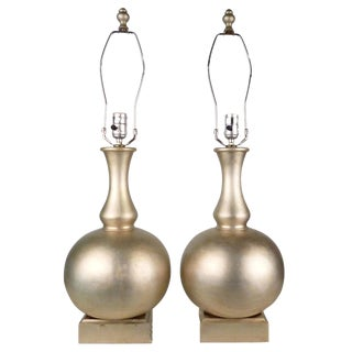 Golden Wood Table Lamps - Pair