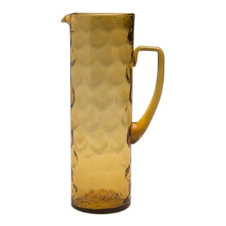 Amber Coloured Moulded Glass Pitcher with a Scale Pattern, England c.1950