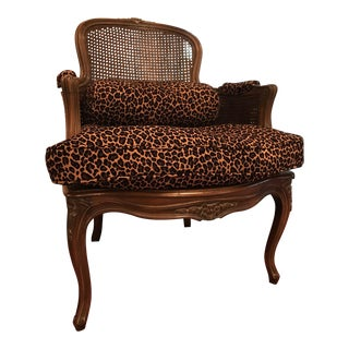 Caning & Leopard Bergere Chair