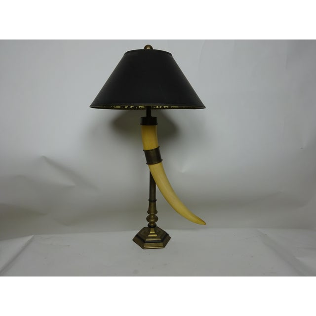 Chapman Faux Tusk Table Lamp with Original Shade - Image 2 of 6