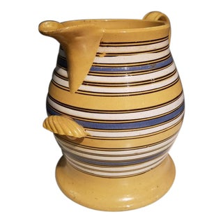 Mochaware Multi-Banded Large Yellowware Jug