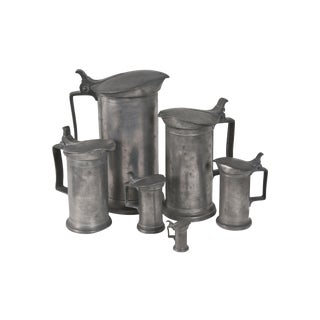 Pewter Pitcher Grouping - Set of 6