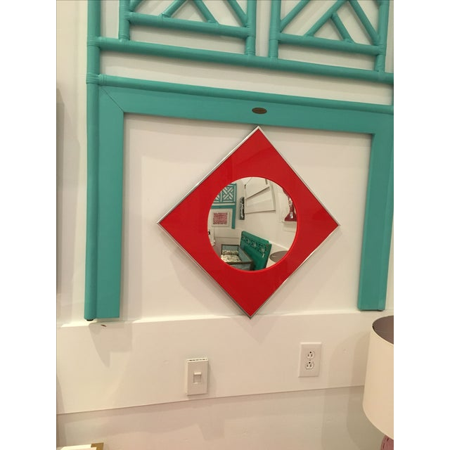 Carvers Guild Convex Mirror of Red Lucite and Chrome - Image 2 of 8