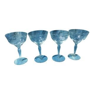 Vintage Crystal Etched Cocktail Glasses - Set of 4