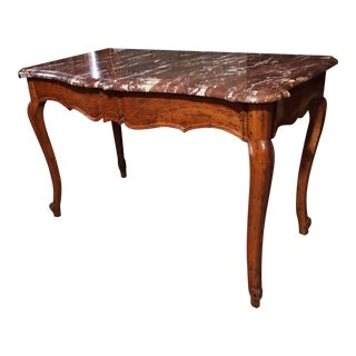 18th Century Walnut Console Table with Rouge Marble Top