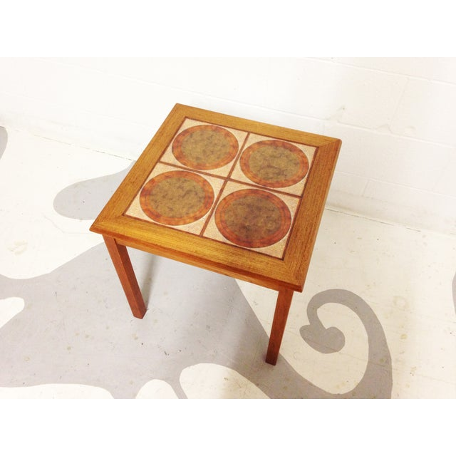 Image of Mid-Century Danish Teak & Tile Side Table