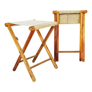 Vintage White Canvas Camp Stools - A Pair