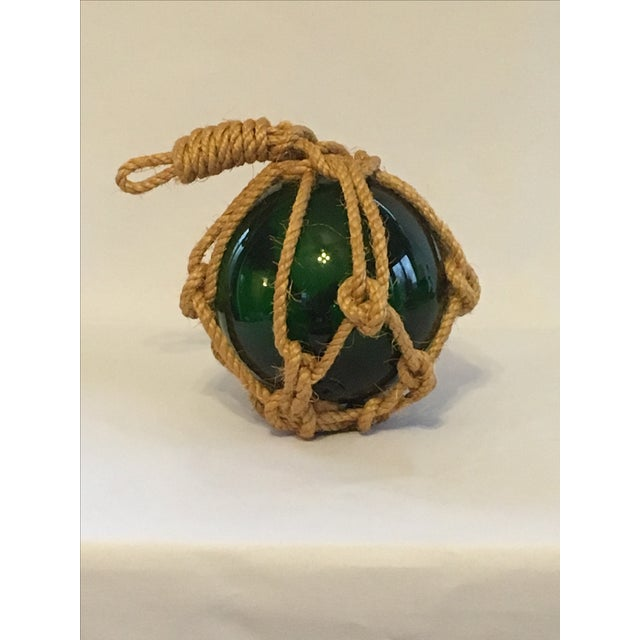 Green Glass Fishing Float with Netting - Image 2 of 7