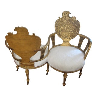 Louis XVI Style Gilt Hand Carved Tete a Tete Chair