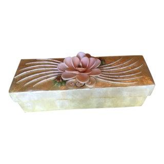 Vintage Capiz Shell Box & Napkin Rings
