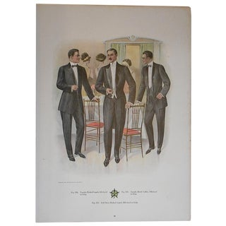"Antique ""Well Dressed Men"" Lithograph"