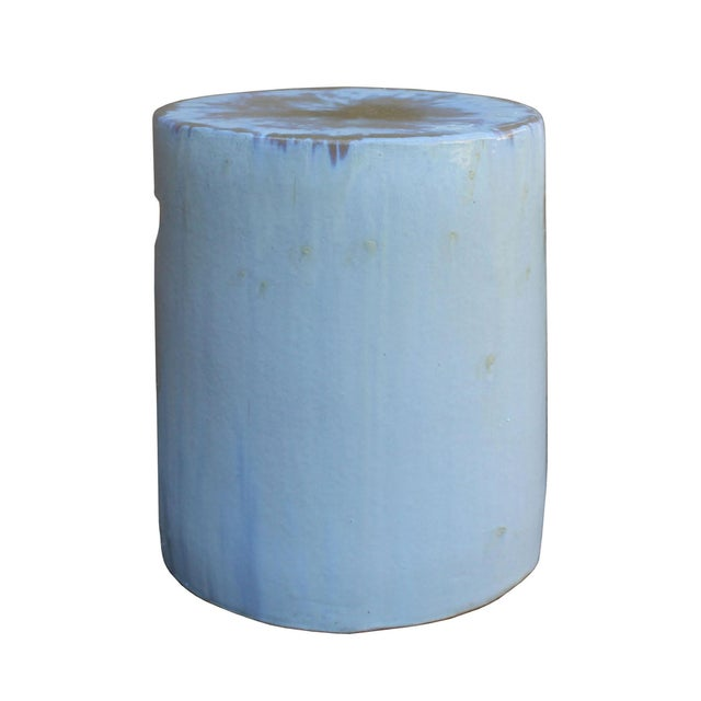 Chinese Ceramic Clay Off White Glaze Round Flat Column