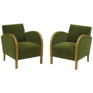 1930's Swedish Deco Lounge Chairs in Green Mohair