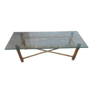Vintage McGuire Bundled Bamboo & Rawhide Lace Coffee Table