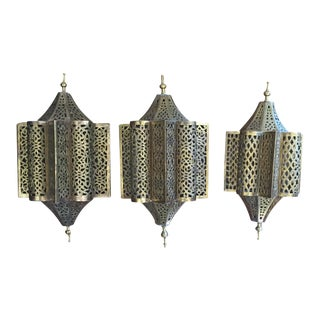Moroccan Brass Lantern Form Sconces- Set of 3