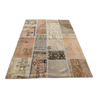 Turkish Vintage Overdyed Patchwork Oushak Rug - 4′10″ × 6′9″